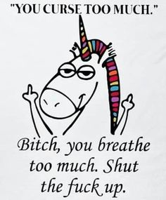 You curse too much.bitch, you breath too much. Shut the fuck up. Unicorn Memes, Unicorn Quotes, Sarcastic Quotes, Funny Quotes, Unicorns And Mermaids, Cute Unicorn, Happy Unicorn, Badass Quotes, Funny Relatable Memes
