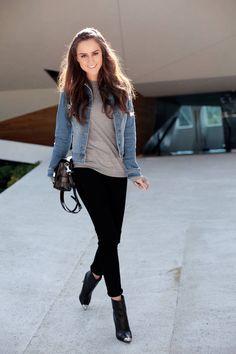 Grey shirt or sweater, denim jacket, cuffed black jeans, metal-toe black booties