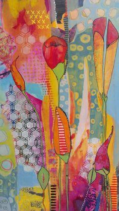 Folk Art Flowers, Abstract Flowers, Flower Art, Jr Art, Arte Pop, Arte Floral, Fabric Painting, Collage Art, Paper Art