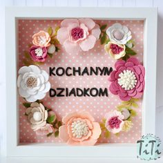 Felt flowers box frame Floral Wall Art Picture box frame
