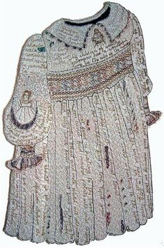 Incredible smocked quilt in the shape of a child's dress. Via Val Jackson, A Fairy tale Childhood Embroidery Art, Embroidery Stitches, Machine Embroidery, Textile Fiber Art, Textile Artists, Fabric Painting, Fabric Art, Concept Clothing, Contemporary Embroidery