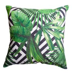 Geometric and tropical palm leaf cushion coverCombine your love for geometric pattern and tropical palm leaves with our Montego cushion cover! Set on a black and white geometric motif, the leaf design creates simple but bold impact to add a huge dose of style and texture to any home decor.-Size: 45cms x 45cms -Material: 100% Cotton (Linen) -Concealed size zipper -Inserts are not included