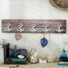 these rustic wall hooks will bring the beach to your bathroom this set of distressed