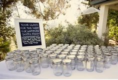 Personalized Name Tagged Mason Jars with our wedding date etched into the lids so their mason jar drink glass becomes their wedding gift to take home! Description from pinterest.com. I searched for this on bing.com/images