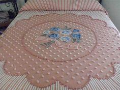 Vintage Chenille Bedspread RARE Design Needletufting Pops Excellent   eBay