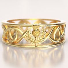 Gold Celtic Ring With Scottish Thistle and Cut Through Infinity Symbol Design in or Palladium, Made in Your Size Unique Rings, Unique Jewelry, Magical Jewelry, Jewelry Ideas, Scottish Thistle, Celtic Rings, Of Montreal, Infinity Symbol, Custom Jewelry Design