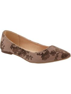 Womens Floral Pointed-Ballet Flats