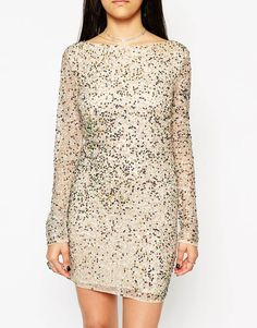 Image 3 ofRock & Religion Embellished Long Sleeve Bodycon Dress With Scoop Back