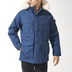 A streetwear staple, this mens parka combines a timeless look with a utilitarian design. Made in canvas with down filling, it features multiple flap pockets, including one on the sleeve. A polar fleece lining inside the hood keeps it cosy, and a detachable faux fur trim lets you customize the look.  a.downjackettoparea.com   #Canadagoose coats#winter coats#coats#jacket#$189#$249