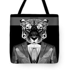 Abstract Tiger Tote Bag Tiger Bag Yoga Bag Shopping Bag by Filip Aleksandrov