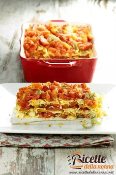 Lasagne ai peperoni Light Recipes, Lasagna, Macaroni And Cheese, Food And Drink, Estate, Meat, Ethnic Recipes, Dinner Ideas, Vegetarian