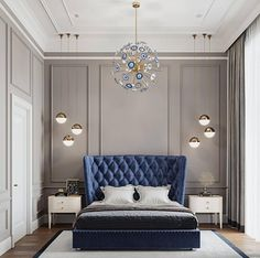 50 awesome master luxurious bedrooms idea on a budget 59 - Home Decor Interior Blue Bedroom Decor, Master Bedroom Interior, Modern Bedroom Design, Home Interior, Bedroom Designs, Home Bedroom, Interior Design, Bedroom Furniture, Bedroom Small