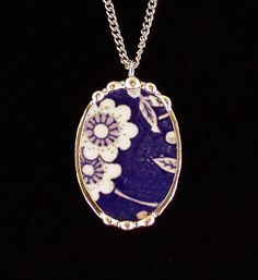 Antique blue calico chintz broken china jewelry oval pendant necklace made from a broken plate