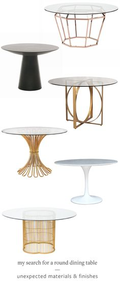 I'm searching for the perfect round dining room table for my makeover! Check out my top picks on Jojotastic.com from @atgstores + pin this post for later! Tons of interior design inspiration for sleek, modern, simple, mixed materials, and wooden tables.