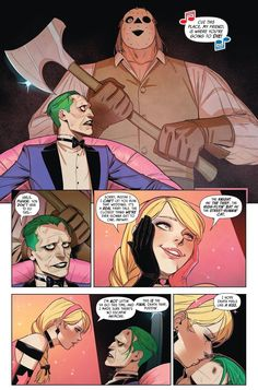 Joker admitted he was jealous of Harley Quinn's death traps, but then again maybe he just said that to mess with her head. From - Batman: Prelude To The Wedding - Harley Quinn VS The Joker Dc Comics Art, Marvel Dc Comics, Poison Ivy Dc Comics, Rick And Morty Poster, Real Fairies, Joker Dc, Cartoon Crossovers, Batman Family, Joker And Harley Quinn