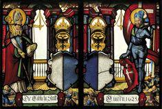 Heraldic windows in the church at Beromuenster, Lucerne, Switzerland