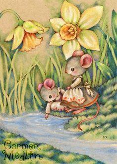 Sister Dearest - cute mouse colored pencil art by Carmen Medlin