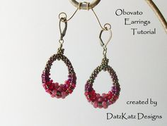 TUTORIAL - Obovato Earrings Tutorial Beading pattern to create a pair of Cubic Right Angle Weave embellished earrings