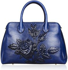 Pijushi Designer Embossed Floral Cowhide Leather Tote Style Ladies Convertible Top Handle Bag Cross Body Handbag 22618 (One Size, Blue) Was: $434.73 Now: $195.63