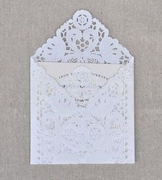 Invitation inspiration! We love this lace envelope