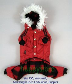 "VERY SMALL SIZE XXS 3-PIECE RED HOODIE TRENDY FASHION DOG JACKET.  Professionally designed, using high quality material and workmanship, specially manufactured for exporting to temperate countries.    The clothes were was separated in three pieces--hood, body, pants-- to give dogs more comfortable in movement and to make it easier to wear on and take off.    SIZE XXS for  Back Length 5""-6"" (13-15 cm)  Chest 10""-11"" (26-28 cm)  Breeds: Chihuahua, Puppies, etc. $32.90, FREE SHIPPING."