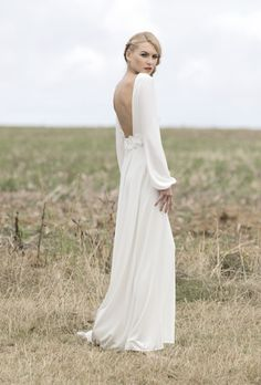 Simple & backless. Wedding Gown.