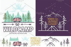 Iconic Camping Linear Badges by Vill on @creativemarket