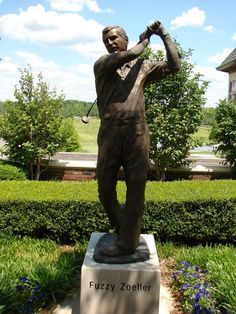 Statue dedicated to Fuzzy Zoeller at Covered Bridge Golf Club.