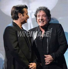 Steve Perry with Neal Schon during ROCK AND ROLL HALL OF FAME April 7,2017.