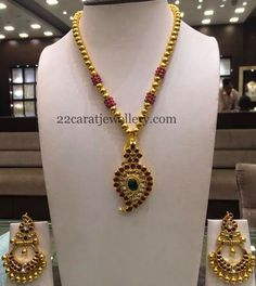 Jewellery Designs: Leafy Pendant With Chandbalis