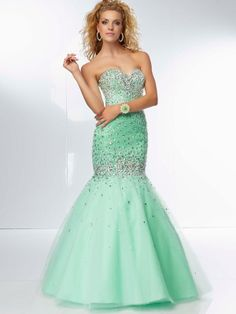 Affordable Trumpet/Mermaid Sweetheart Sleeveless Tulle Prom Dresses With Beaded
