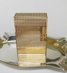 S. T. DUPONT LIGHTER  Gold Diamond Head  by STUNNINGCOLLECTIBLES