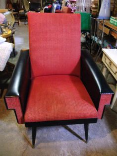 1950s Retro Chair,Vintage Armchair,Original French Furniture,vinyl & fabric,Red & Black.