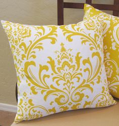 Ornate Yellow Damask Pattern Throw Pillow Cover by PillowPeels, $14.95
