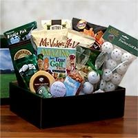 Help them get their golf game on and sink a sudden snack attack with this golf lovers golf gift pack full of sweet and savory snacks like bistro style chips, chocolate chip cookies, three pepper crackers, white cheddar popcorn and more. Gift Pack Includes: Fontazzi Butter Toffee Pretzels 2 oz, Beth's chocolate chip cookies 4 oz, White cheddar popcorn, 8 piece set of practice golf balls, 3 reconditioned golf balls, Putters Green gourmet coffee, smoked gouda cheese round, garlic summer sausage…