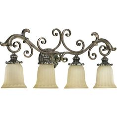 """View the Quorum International 5100-4 Four Light 33"""" Wide Bathroom Fixture from the Barcelona Collection at LightingDirect.com."""