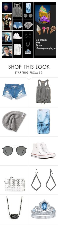 """Ice cream with Ethan"" by a-pirates-life-for-me ❤ liked on Polyvore featuring rag & bone/JEAN, Hollister Co., Converse, Ray-Ban, Kendra Scott and Disney"