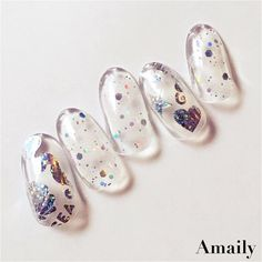 Fun & colorful nail set by @amaily_jp using the Holographic Sea Aurora stickers! Limited stock now available on DAILYCHARME.COM