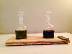 Oil & vinegar set on wine barrel stave (by weinARTig)