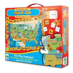 Puzzle Doubles Find It USA-50 Pc Floor Puzzle & Geography Game Activity