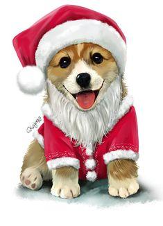 Новогодние картинки, собаки