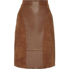 Dagmar Dia paneled leather and suede pencil skirt (1,065 CAD) ❤ liked on Polyvore featuring skirts, brown, brown pencil skirt, zipper skirt, elastic waist skirt, panel skirt and knee length pencil skirt