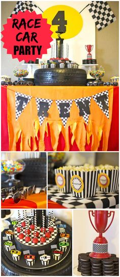 Check out this cool race car party! It has popcorn, cupcakes and an Oreo stack cake! See more party planning ideas at CatchMyParty.com!
