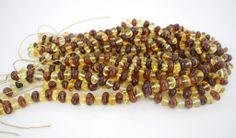 Natural Baltic Amber Bead Strand 8mm - 9mm Multi Color Baroque Nugget Alluregem