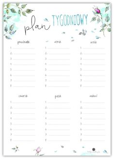 Plan tygodniowy – Depth of souls Planner Pages, Weekly Planner, Printable Planner, Printables, School Planner, Life Planner, Happy Planner, Timetable Planner, Bullet Journal Notebook