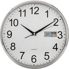 Buy Argos Home Day and Date Wall Clock - Silver at Argos. Thousands of products for same day delivery or fast store collection. Silver Wall Clock, Argos, Dating, Clocks, Ebay, Stuff To Buy, Shopping, Quartz, Home