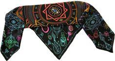 """100% silk scarf black square """"Alchemy"""""""