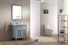 "ARIEL Kensington 31"" Single Sink Bathroom Vanity Set Solid Wood Cabinets - Gray"