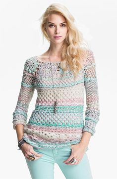 Free People 'Ring of Roses' Crochet Sweater available at #Nordstrom