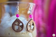 3D Layered Mahogany Veneer Earrings Venearrings""